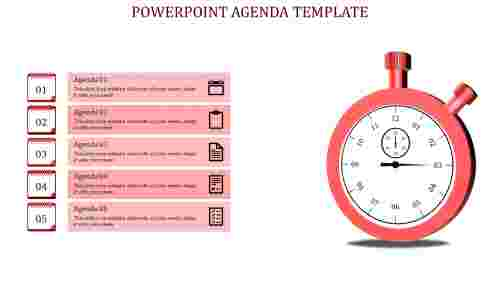 Clock model PowerPoint Agenda Slide Template-5 Red